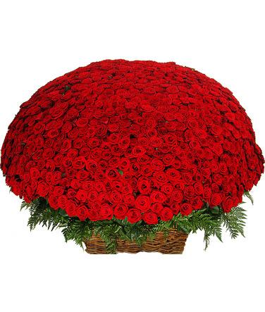 Букет из 1001 розы<br>Состав букета: Розовая роза, Оранжевая роза, Белая роза, Желтая роза, Красная роза, Малиновая роза, Коралловая роза, Кремовая роза; Ингредиенты: Роза (60 см) 1 001 шт, Корзина 1 шт;