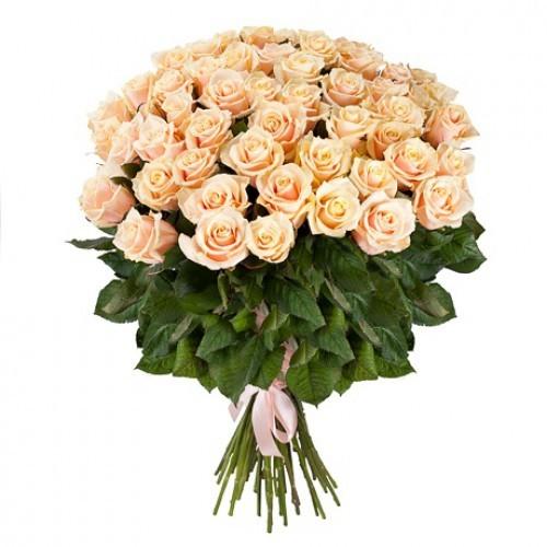 Букет из 51 розы (70см)<br>Ростовка: 50, 60, 70, 80; Состав букета: Розовая роза, Оранжевая роза, Белая роза, Желтая роза, Красная роза, Малиновая роза, Коралловая роза, Кремовая роза;