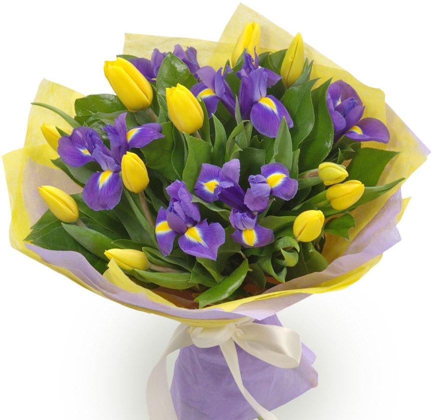 Весенний<br>Ингредиенты: Тюльпан 11 шт, Ирис 6 шт, Салал, Оформление 1 шт;