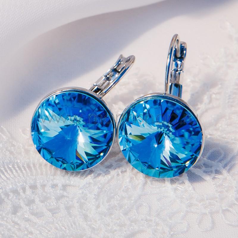 Серьги Чародейка с голубыми кристаллами Сваровски<br>
