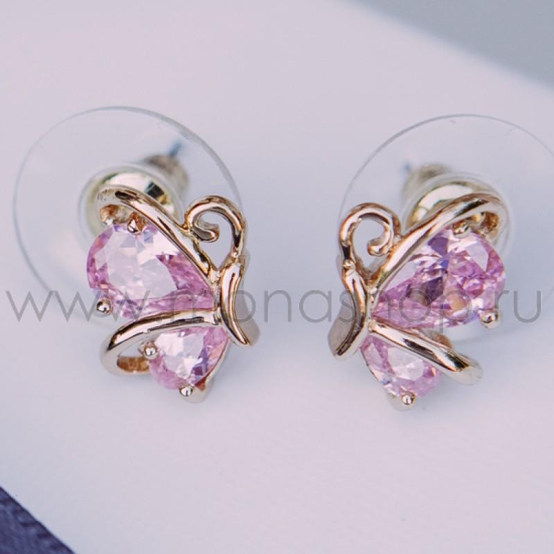 Серьги Нежный ангел с розовым цирконием<br>