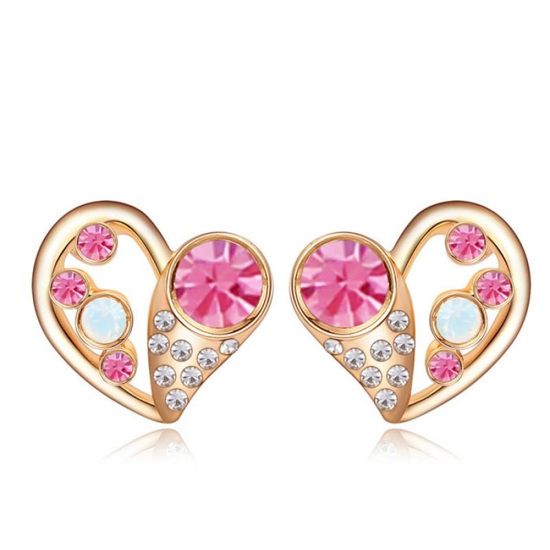 Серьги Влюбленность с розовыми кристаллами<br>