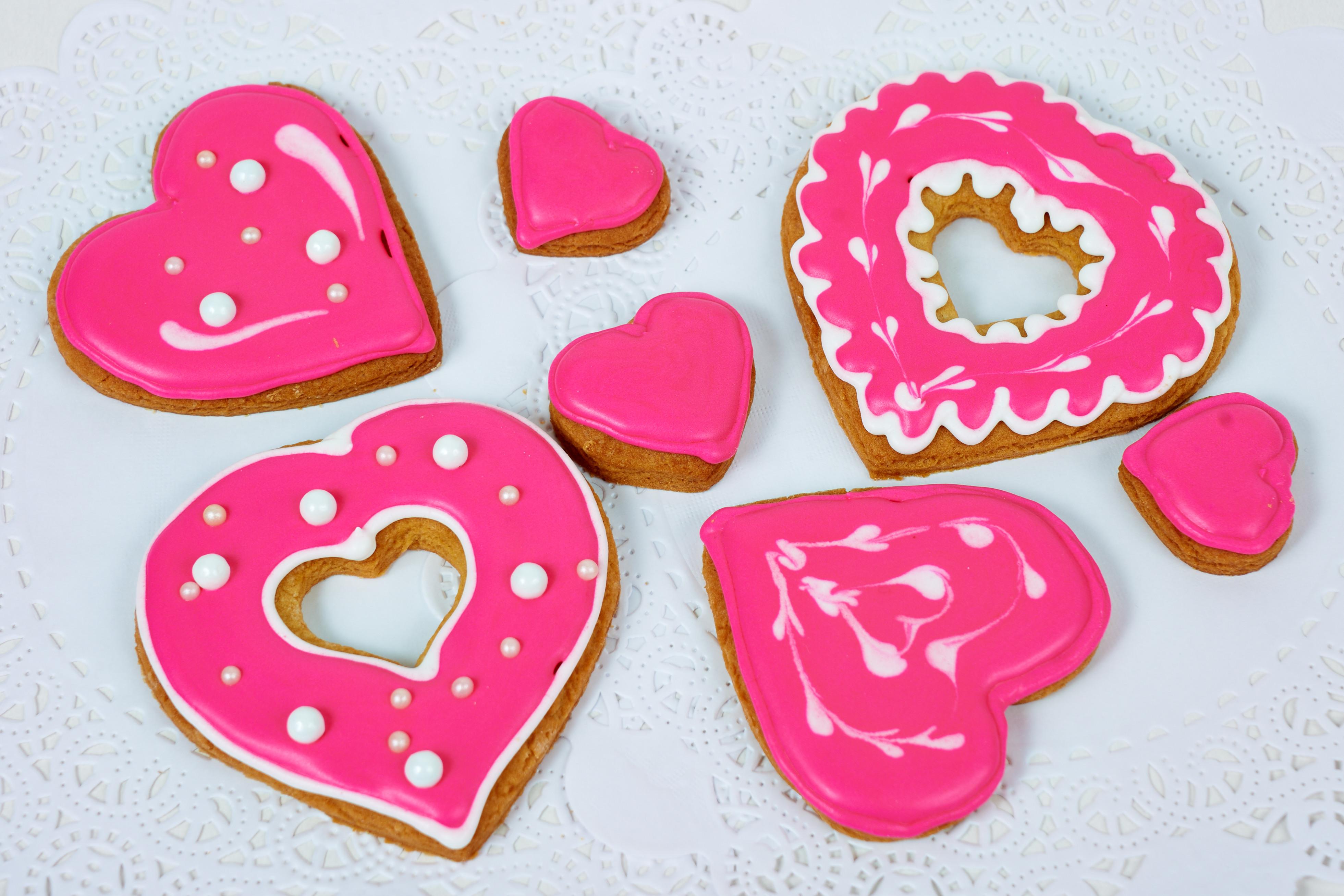 Набор печенье расписное Сердце розовое<br>
