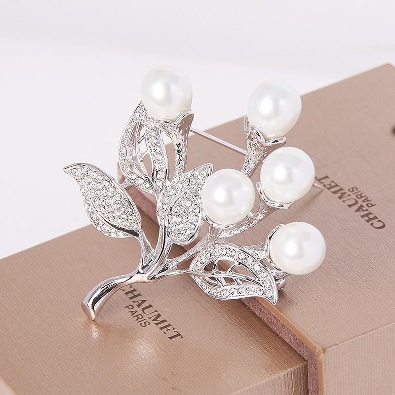 Брошь Букет невесты с жемчугом и кристаллами Сваровски<br>