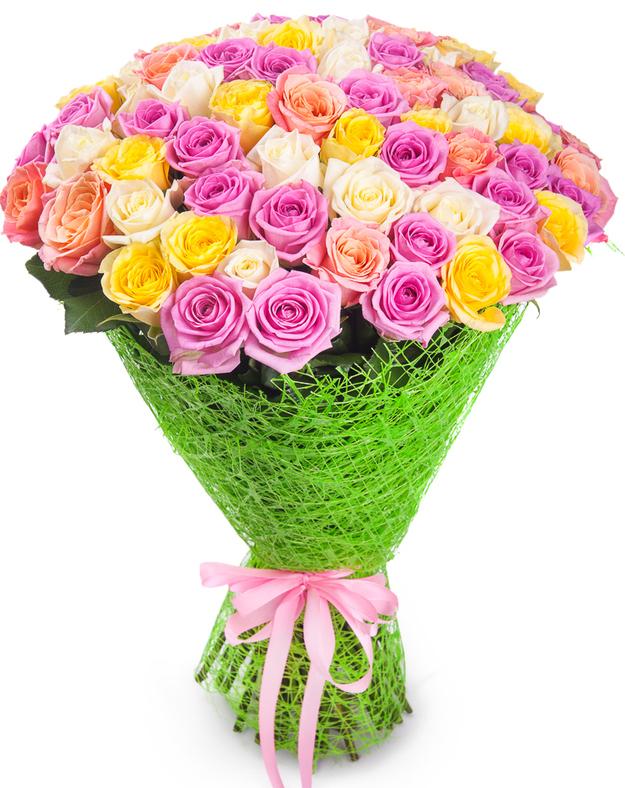 Букет цветов из 71 розы (70см)<br>Ростовка: 50, 60, 70, 80; Состав букета: Розовая роза, Оранжевая роза, Белая роза, Желтая роза, Красная роза, Малиновая роза, Коралловая роза, Кремовая роза;