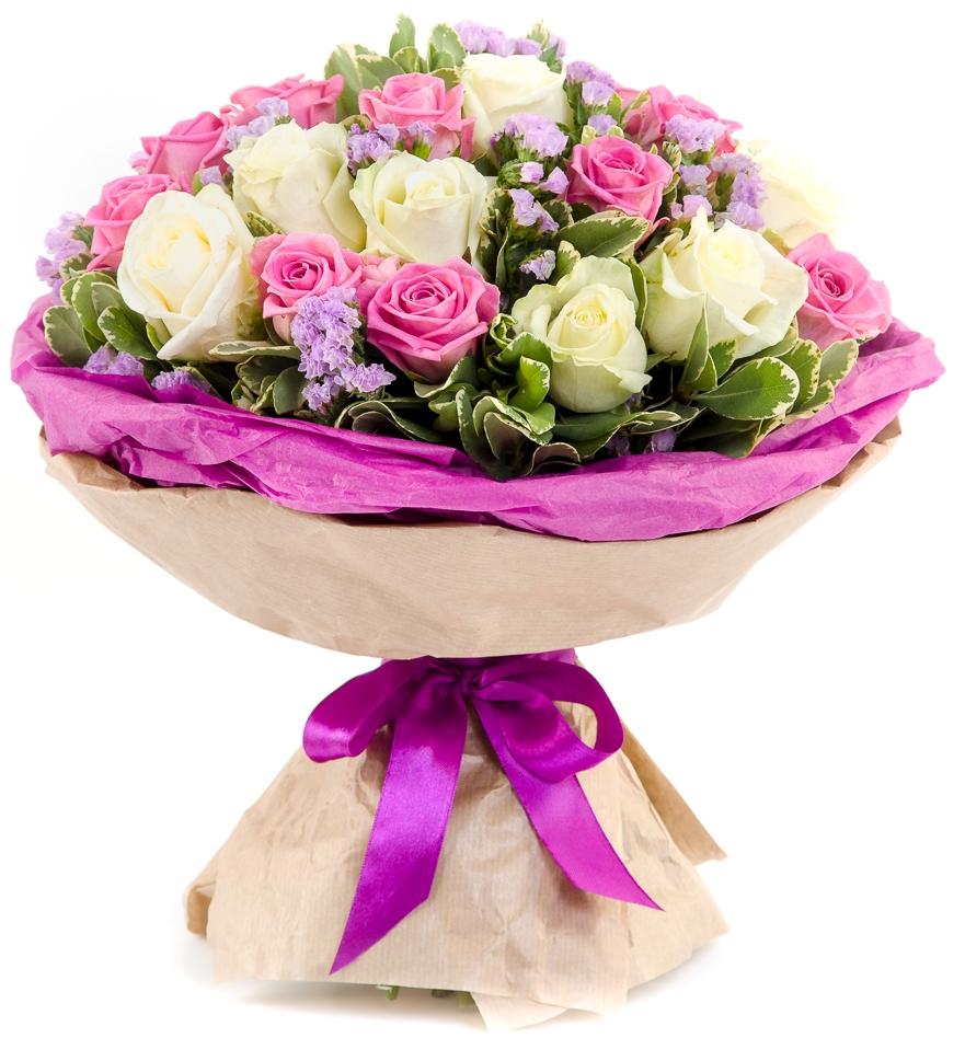 Ускользающая красота<br>Ингредиенты: Роза (50 см) 23 шт, Статица 4 шт, Питтоспорум 1 шт, Оформление 1 шт;