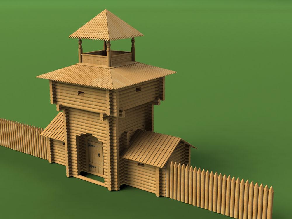 Надвратная башня Зашиверского острога с частью стены-частокола<br>